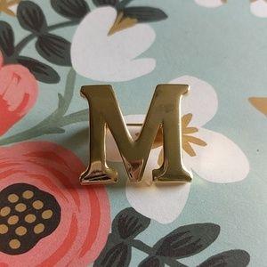 Gold letter M vintage brooch